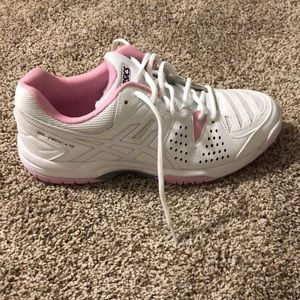 ASICS White and Pink Tennis Shoes
